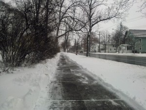 Village Sidewalk Post Shoveling
